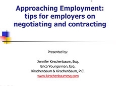 Video Thumbnail: Approaching Employment: Tips for employers on negotiating and contracting